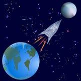 Vuelo de Rocket de la tierra en un planeta desconocido ilustración del vector