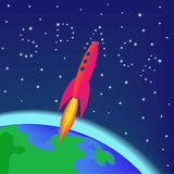 Vuelo de Rocket en espacio imagen de archivo libre de regalías