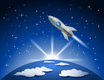 Vuelo de Rocket en espacio Imágenes de archivo libres de regalías