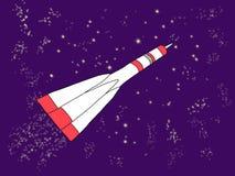 Vuelo de Rocket en espacio entre las estrellas ilustración del vector