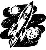 Vuelo de Rocket a través del espacio exterior Imagenes de archivo