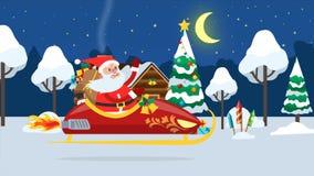 Vuelo de Santa Claus a través del bosque del invierno stock de ilustración