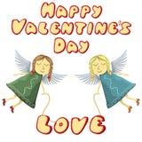 Vuelo de Valentine Fairys con el amor aislado en el fondo blanco Imagen de archivo libre de regalías