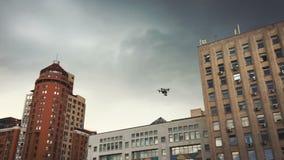 Vuelo del abejón entre edificios almacen de metraje de vídeo