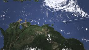 Vuelo del aeroplano a Caracas, Venezuela en el mapa, animación 3D metrajes