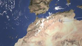 Vuelo del aeroplano a Casablanca, Marruecos en el mapa, animación 3D metrajes