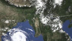 Vuelo del aeroplano a Chittagong, Bangladesh en el mapa, animación 3D almacen de video