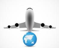 Vuelo del aeroplano con World Travel Fotografía de archivo libre de regalías