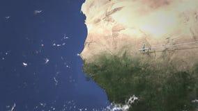 Vuelo del aeroplano a Dakar, Senegal en el mapa, animación 3D metrajes
