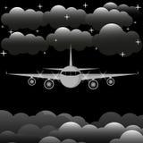 Vuelo del aeroplano en el cielo en el ejemplo de la noche libre illustration