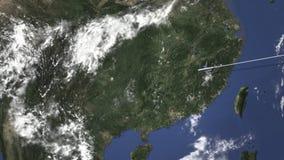 Vuelo del aeroplano a Guiyang, China en el mapa, animación 3D almacen de video