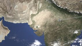 Vuelo del aeroplano a Hyderabad, Paquistán en el mapa, animación 3D almacen de metraje de vídeo