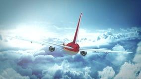 Vuelo del aeroplano sobre las nubes stock de ilustración