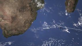 Vuelo del avión de pasajeros a Durban, Suráfrica del este, animación 3D almacen de metraje de vídeo