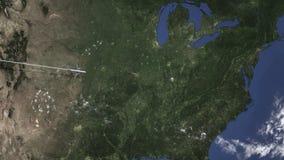 Vuelo del avión de pasajeros a Louisville, Estados Unidos de la animación del oeste 3D libre illustration