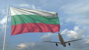 Vuelo del avión de pasajeros sobre la bandera que agita de Bulgaria animaci?n 3D ilustración del vector