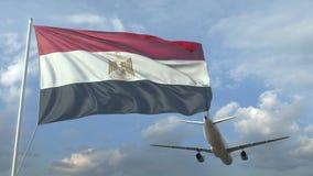 Vuelo del avión de pasajeros sobre la bandera que agita de Egipto animaci?n 3D ilustración del vector