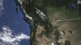 Vuelo del avión de pasajeros a Vancouver, Canadá del este, animación 3D almacen de metraje de vídeo