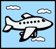 Vuelo del avión de reacción en el cielo Foto de archivo