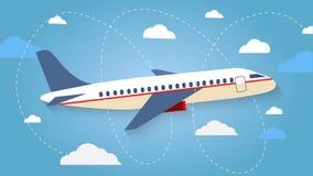 Vuelo del avión en el cielo Aviones de pasajeros, aeroplano, airc Foto de archivo