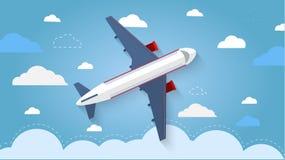 Vuelo del avión en el cielo Aviones de pasajeros, aeroplano, airc Imagenes de archivo