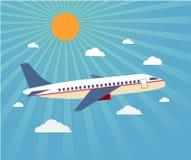 Vuelo del avión en el cielo Aviones de pasajeros, aeroplano, airc Fotografía de archivo