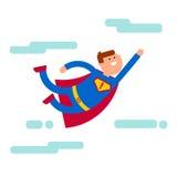 Vuelo del carácter del super héroe en el cielo stock de ilustración