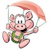 Vuelo del cerdo en el jamón Foto de archivo