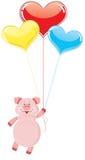 Vuelo del cerdo en los globos Imagen de archivo