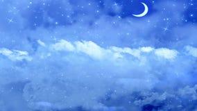 Vuelo del cielo nocturno con la luna