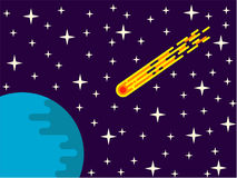 Vuelo del cometa hacia diseño plano del planeta Fotos de archivo