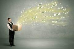 Vuelo del dinero del concepto de la caja Foto de archivo libre de regalías