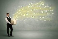 Vuelo del dinero del concepto de la caja Fotografía de archivo libre de regalías