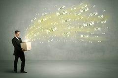 Vuelo del dinero del concepto de la caja Fotos de archivo libres de regalías