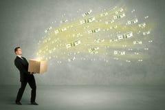 Vuelo del dinero del concepto de la caja Imagenes de archivo