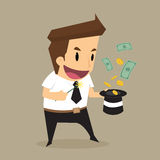 Vuelo del dinero del hombre de negocios fuera del sombrero mágico Imagen de archivo