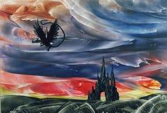 Vuelo del dragón sobre castillo Foto de archivo libre de regalías