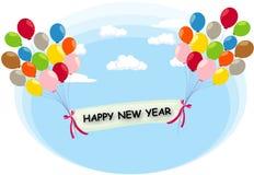 vuelo del globo con la escritura de la etiqueta de la Feliz Año Nuevo Imagen de archivo