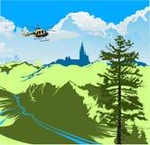 Vuelo del helicóptero sobre el valle verde Fotografía de archivo