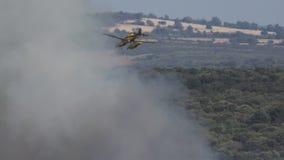 Vuelo del hidroavión detrás del humo del fuego metrajes