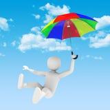 vuelo del hombre 3d con el paraguas Foto de archivo libre de regalías