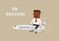 Vuelo del hombre de negocios en el aeroplano al éxito Fotos de archivo libres de regalías