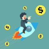 Vuelo del hombre de negocios en el cohete y éxito en trabajo libre illustration