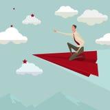 Vuelo del hombre de negocios en un aeroplano de papel rojo ilustración del vector