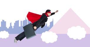 Vuelo del hombre de negocios del super héroe con formas mínimas Fotografía de archivo