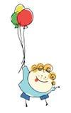 Vuelo del niño del muchacho con los globos - la gente de la historieta vector el illustrat Fotos de archivo