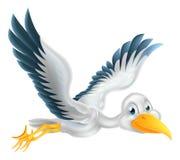 Vuelo del pájaro de la cigüeña de la historieta Foto de archivo libre de regalías
