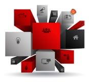 Vuelo del rectángulo 3d con los iconos Fotografía de archivo libre de regalías