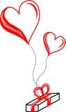 Vuelo del regalo en los globos del corazón Imagen de archivo libre de regalías