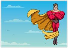 Vuelo del super héroe en el cielo horizontal Fotografía de archivo libre de regalías